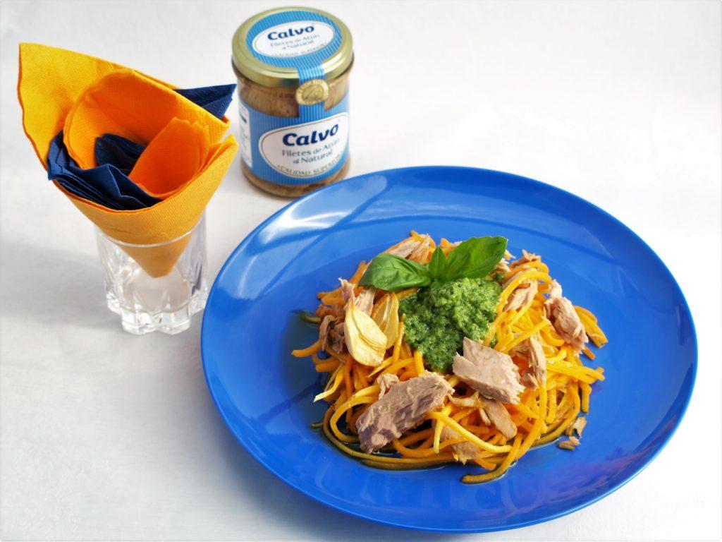 Dýňové špagety sbazalkovým pestem atuňákem